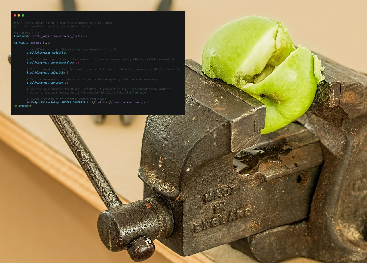 An Apache httpd .conf file and an apple being compressed, because I couldn't find an image of broccoli.